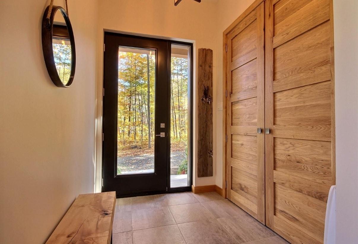 Porte d acier 95 hauteur avec lat ral noir portes et for Porte et fenetre granby